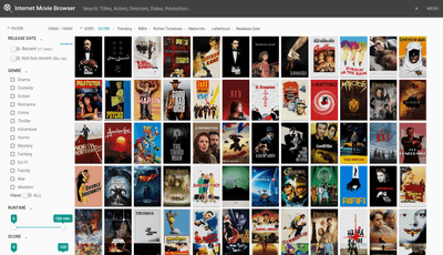 Internet Movie Browser javascript film exploration tool vuejs material design